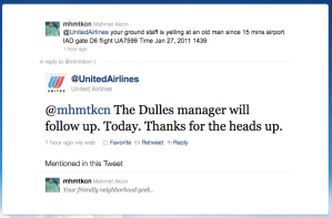 UAL's Twitter person jumps on report of problems...
