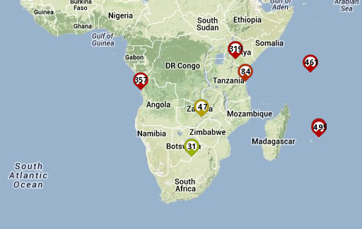 Round-trip times from RIPE Atlas probes in Southern African countries to a destination in South Africa